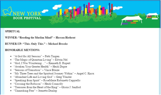 NY Book Festival Runner Up